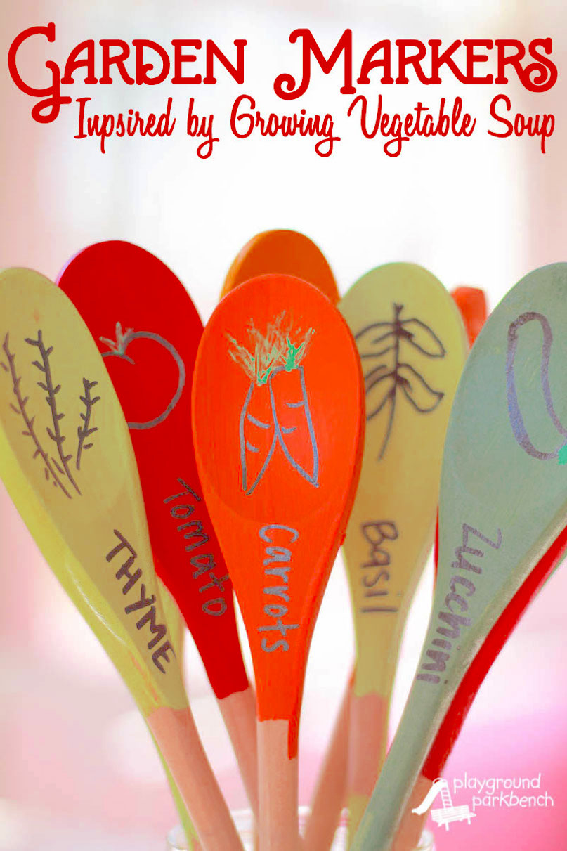 garden markers created from wooden spoons