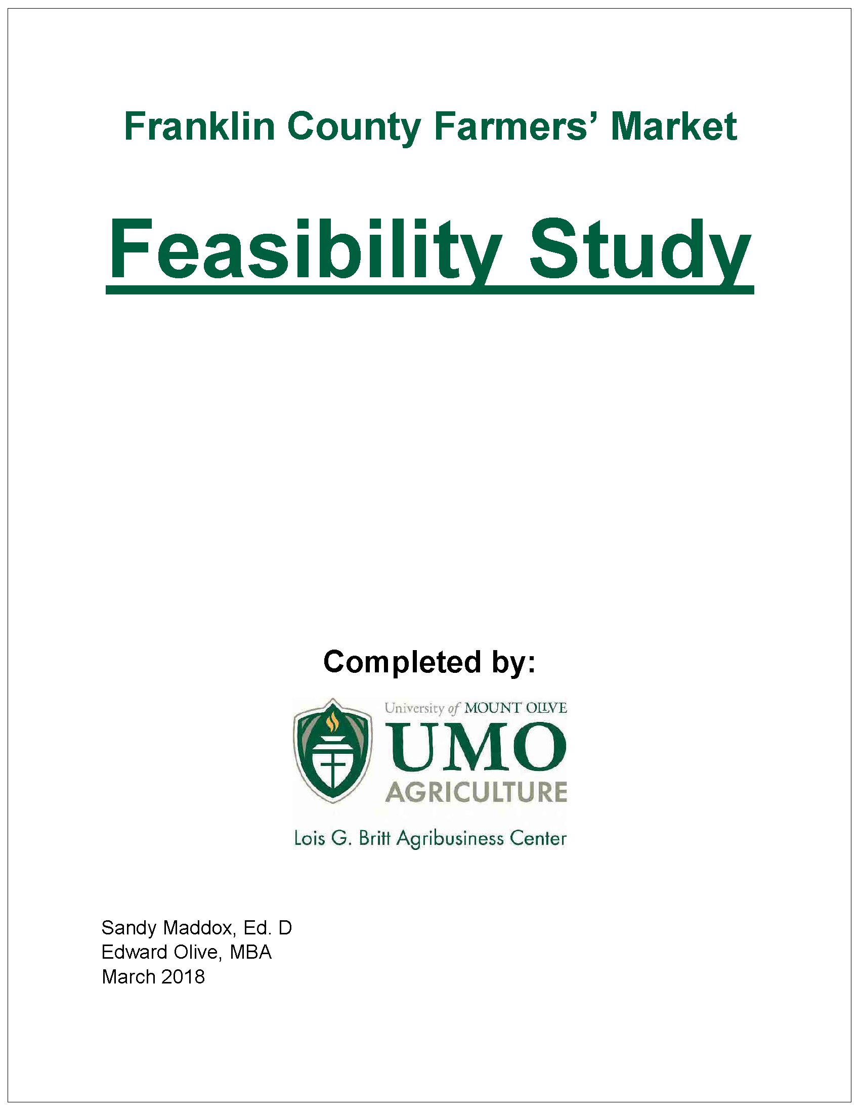 Franklin County Farmers' Market Feasibility Study cover