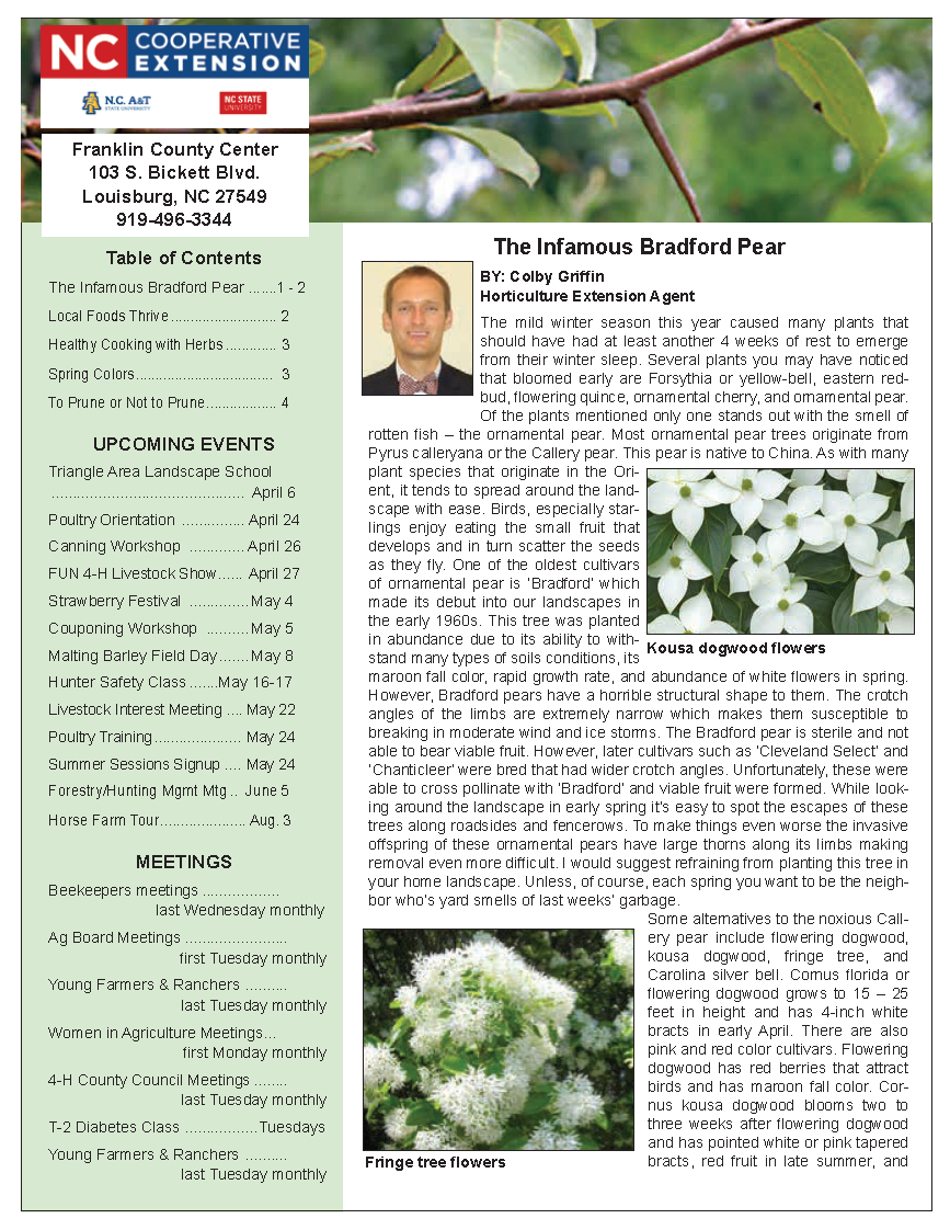 Franklin County Extension Newsletter page image