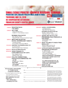 Cover photo for Small Scale Poultry Grower Regional Seminar-Thursday, May 24