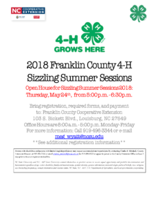 Cover photo for 2018 Franklin County 4-H Sizzling Summer Sessions