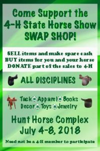 Cover photo for Consign Your Used Tack and Clothing at the 2018 State 4-H Horse Show