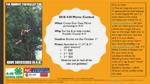 2018 4-H Meme Contest Flyer