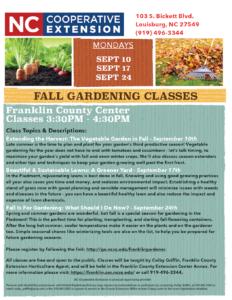 2018 Fall Gardening Classes flyer
