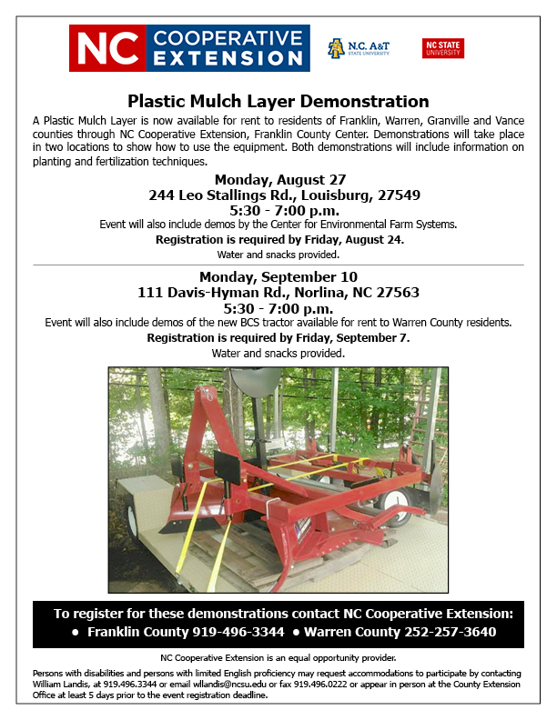 Plastic Mulch Layer Demonstration flyer image