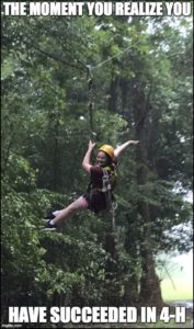 This is a picture of a girl ziplining