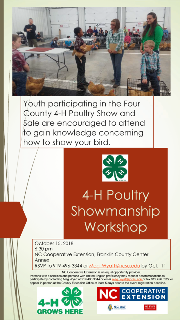 poultry workshop picture and flyer with place, date, time, contact info. listed