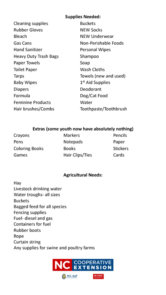 Hurricane Florence Supply Drive flyer page 2 is a list of needed items