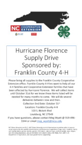 Cover photo for 4-H Hurricane Florence Supply Drive