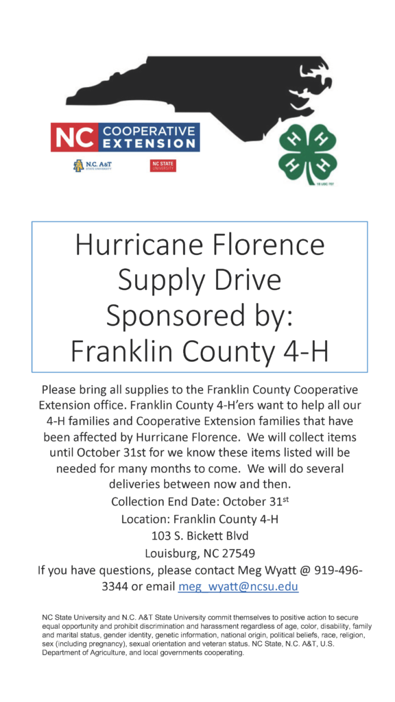 Hurricane Florence Supply Drive flyer with dates and delivery information