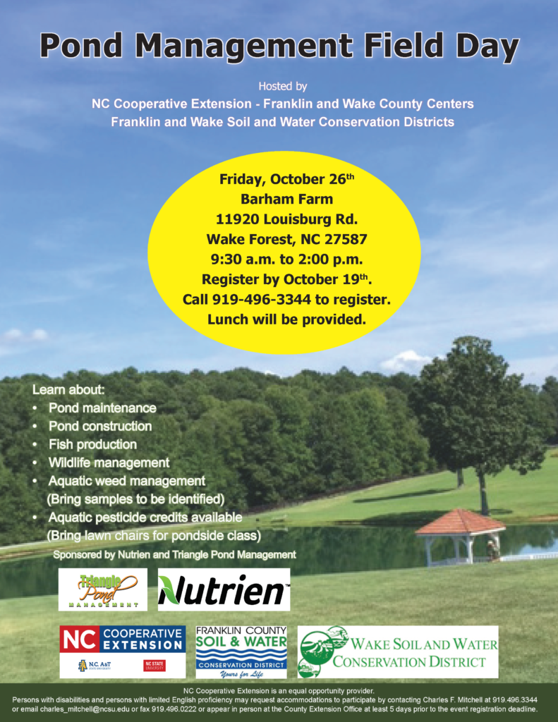 Pond Management Field Day flyer with date, location, registration info. and topics covered.