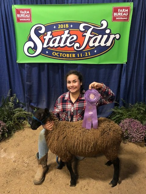 Picture of 4-H participant, Alma Morales with Reserve Champion Ram and award.