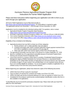 Hurricane Florence Agricultural Disaster Program 2018 Instructions for Farmer Relief Application instructions page 1