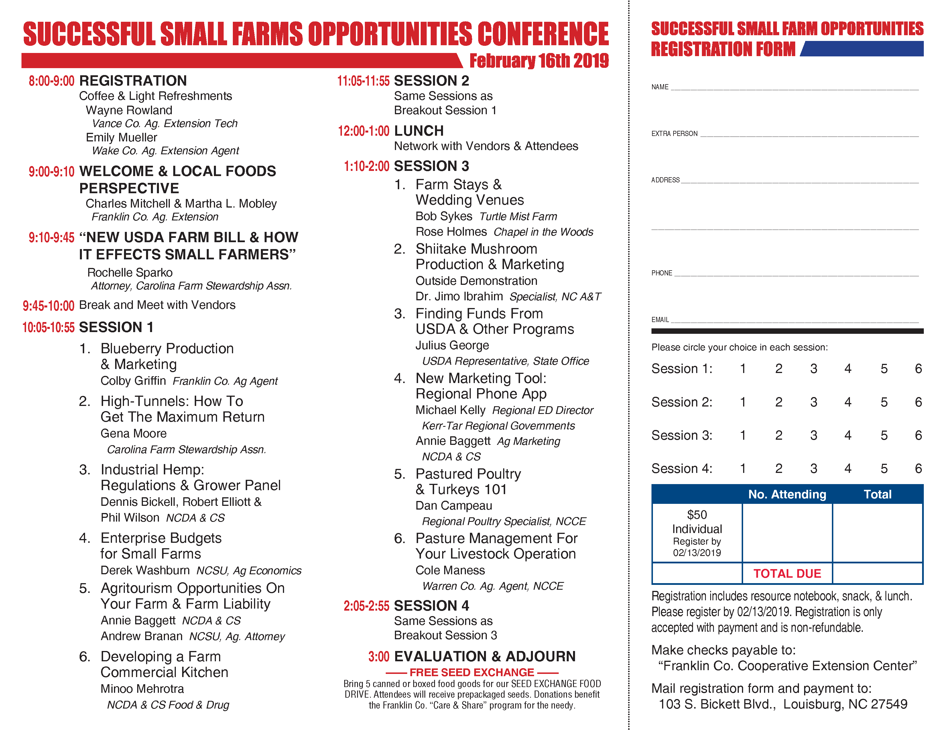 2019 Successful Small Farms Opportunities Conference schedule of events and registration form