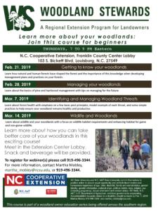 Woodland Stewards webinar series flyer withdate, time, seminar details