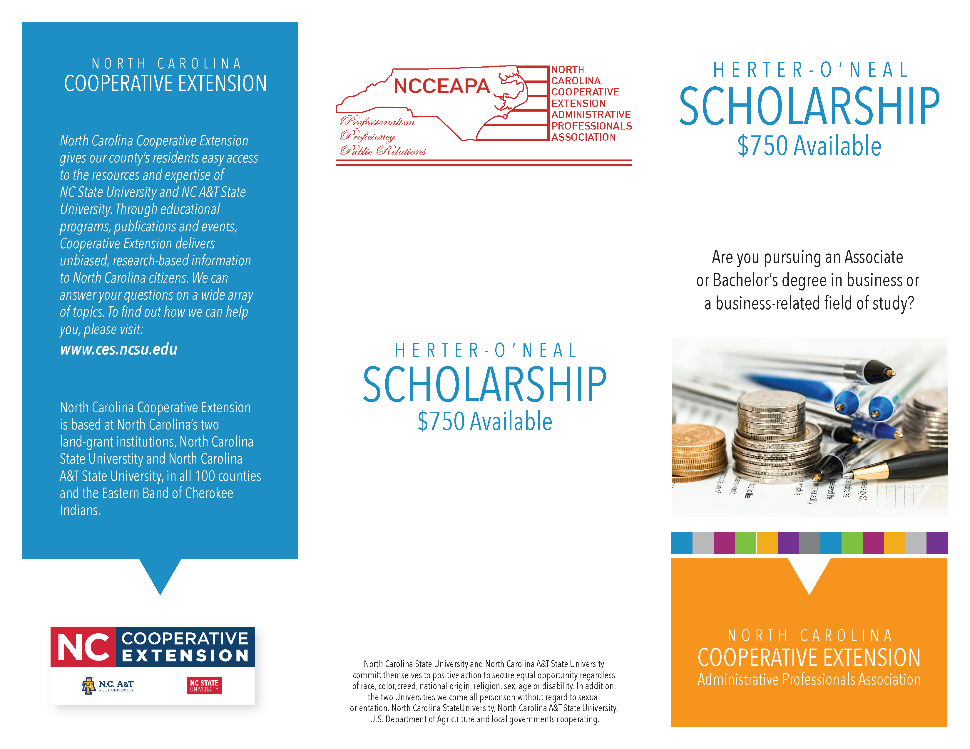 Herter-O'Neal Scholarship informational brochure page 1