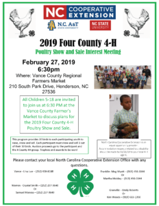 2019 Four County 4-H Poultry Show and Sale Interest Meeting informational flyer