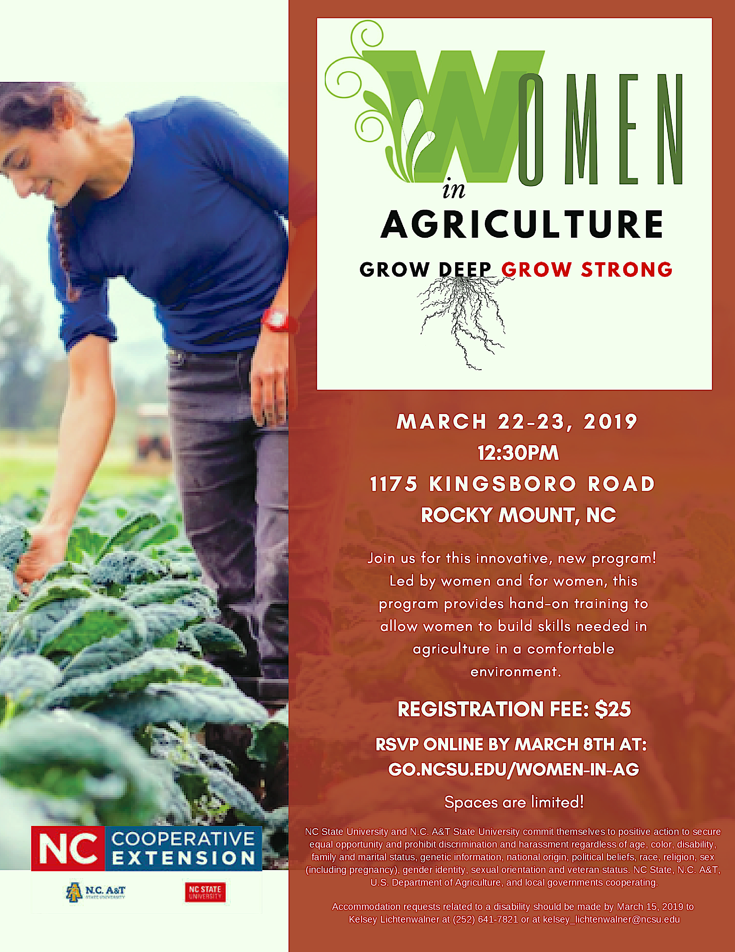 WOMEN IN AG MEETING INFORMATIONAL FLYER WITH PICTURE OF WOMAN IN A GARDEN