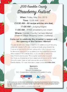 Flyer with a Strawberries in the background promoting a Strawberry Festival with date, time, and location information.