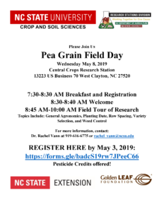 2019 Pea Grain Field Day flyer with date, time, location, topics covered, contact email and phone and registration information.
