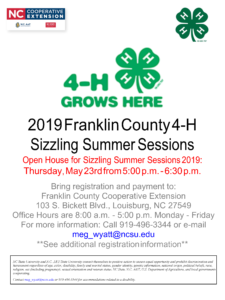 Image of page 1 of 11 of the 2019 Franklin County 4-H Sizzling Summer Sessions information and registration packet with session dates, times and cost information.
