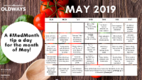 image of a May 2019 calendar with a daily tip for Med Month diet and recipe ideas