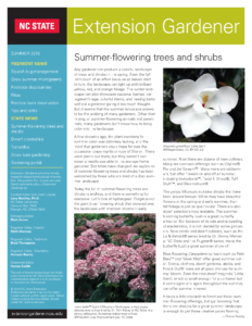Image of the front page of the NC State Extension Gardener Newsletter summer 2019 issue
