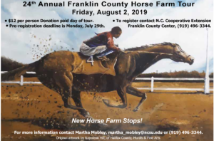 Image of Horse Tour brochure cover with racehorse and rider, meeting date and registration information.