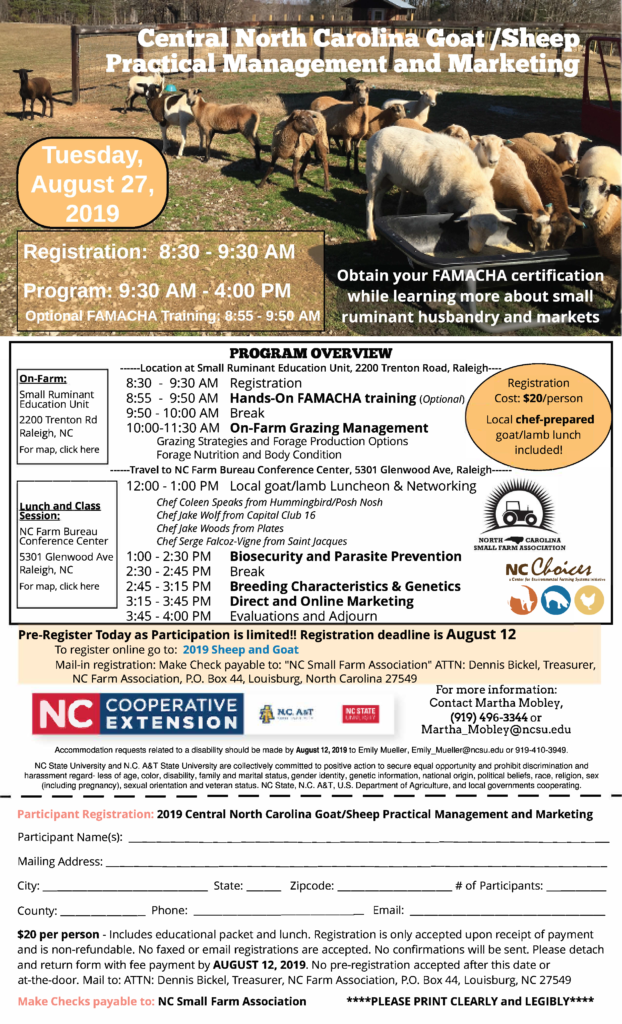 Image of the Central NC Goat/Sheep Management and Marketing agenda with registration form and information.