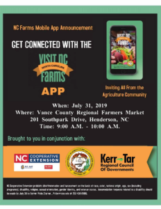 Announcement flyer/invitation with date, time and location, images of a cellphone, with the visit NCFarms app and logo on the screen, and sponsor info.