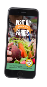 Image of a cell phone showing the Visit NC Farms app on the screen