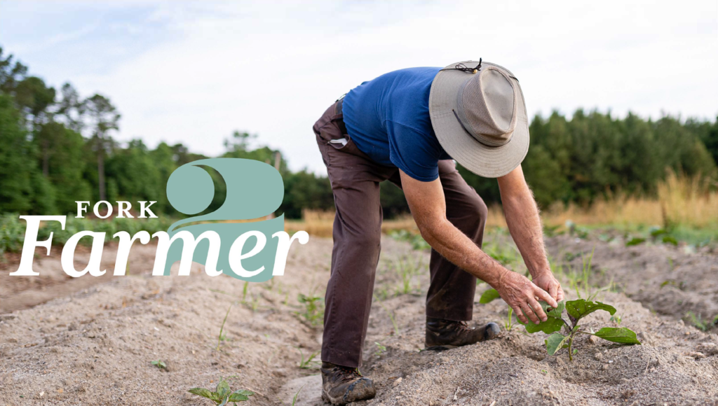 Image of farmer checking his crop, the thumbnail for the Fork-to-Farmer video.