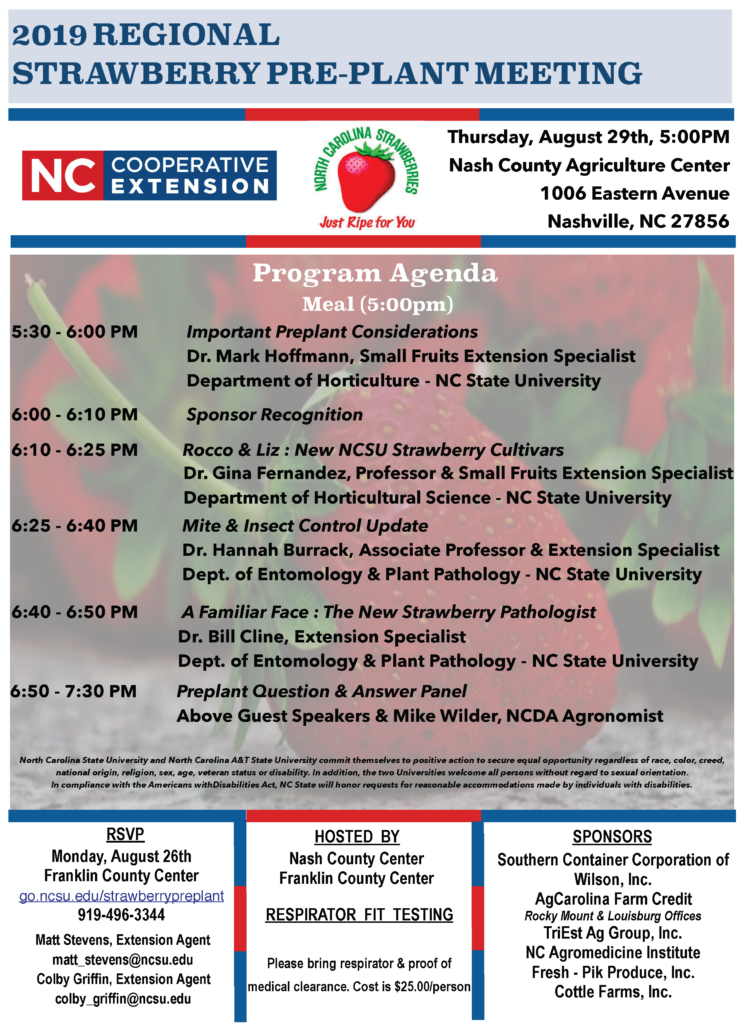Image of agenda, with hosts, sponsors and speakers listed, and registration info., date address and time of the 2019 Regional Strawberry Pre-Plant Meeting.