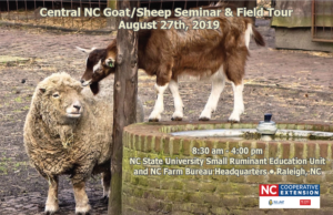 Cover page of agenda for Central NC Sheep and Goat Seminar and Field Tour, with image of a sheep and a goat with event date, location and time listed.