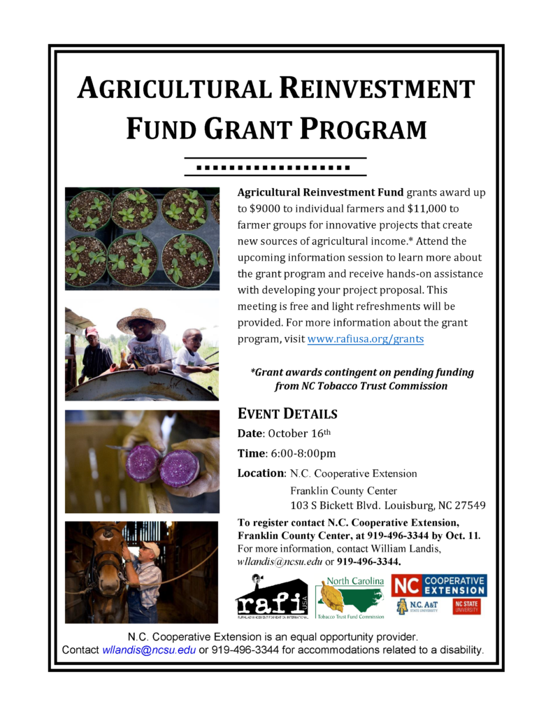 Image of Ag Reinvestment Fund Grant Program flyer with registration and meeting information including date, time, location.