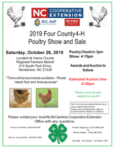 image of the 2019 Four County 4-H Poultry Show flyer with date, times and location included.
