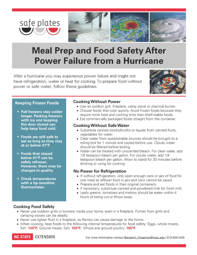 image of food safety and meal prep info. sheet