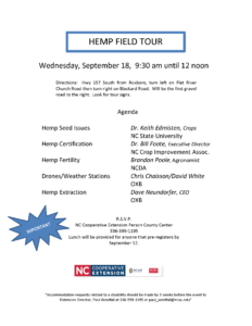image of Hemp Field tour flyer with date, location, time, registration info and topics/speakers listed.