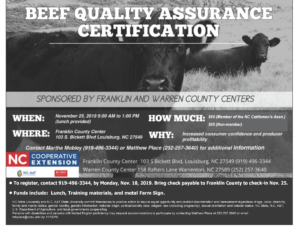Image of Beef Quality Assurance certification meeting flyer with date, time, cost and location details, picture of 2 cows in a field.
