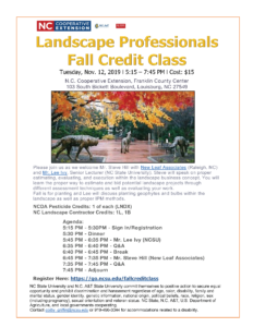 Image of Landscape Professionals Credit Class flyer with date, time place, agenda and cost.