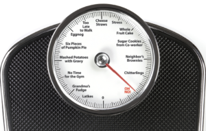 image of a scale with foods that increase weight listed
