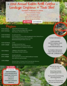 image of 22nd annual eastern N.C> Landscape Conference & Trade Show flyer with date, location and credit info.