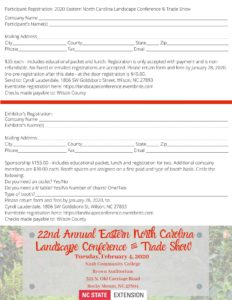 Image of 22nd annual Eastern NC Landscape Conference and Trade Show registration form.registration form