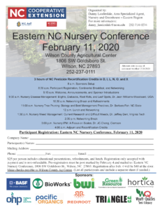 image of the Easte3rn NC Nursey Conference flhyewr with date, time, location and registration information