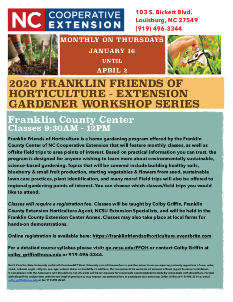 Image of flyer for Franklin County Friends of Horticulture Extension Gardener Workshop series with days, time, location and registration info.