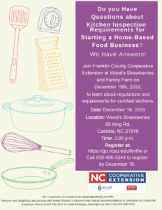 Image of Kitchen inspection presentation flyer with date, time, location info. and kitchen utensils background.