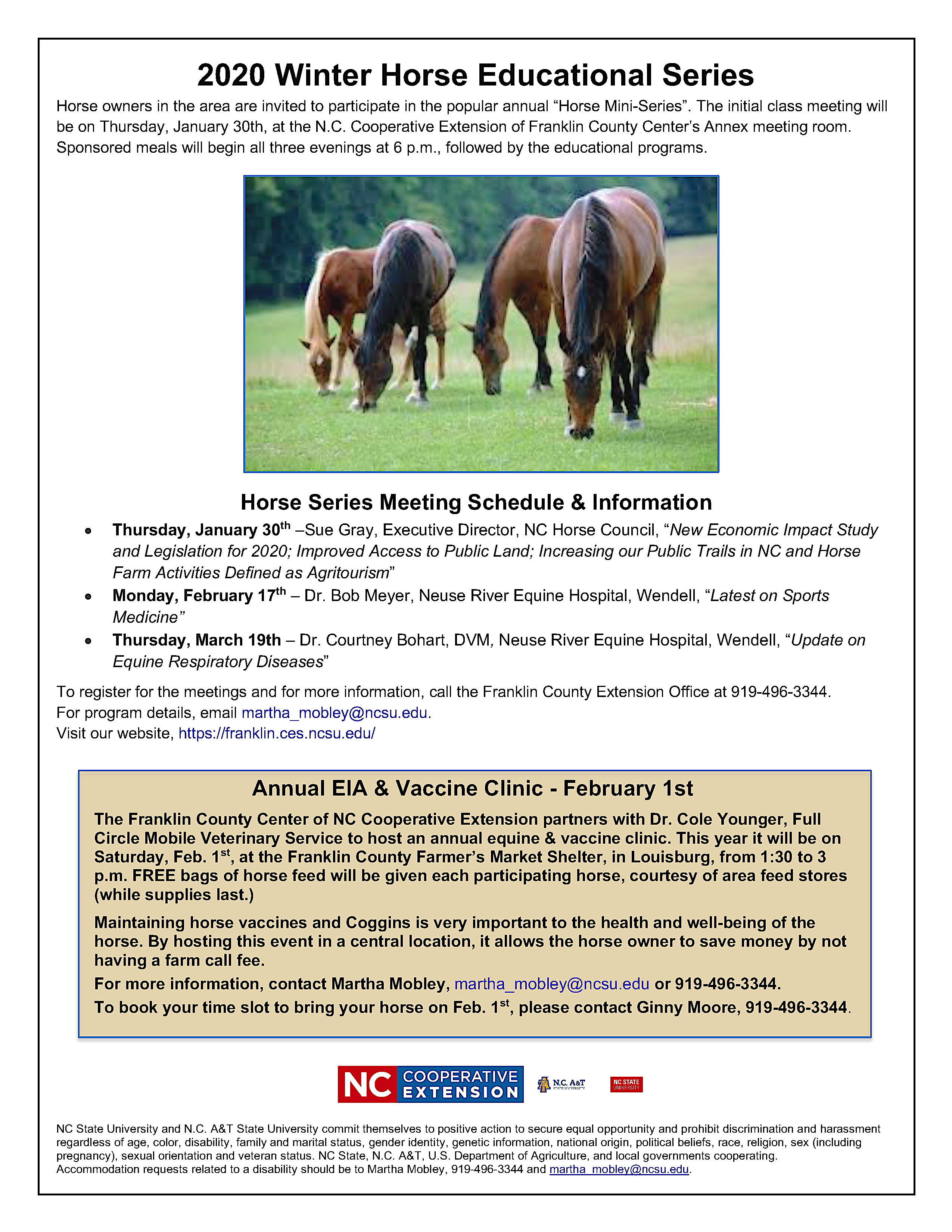 image of 2020 Winter Horse Educational Series and EIA/Vaccination Clinic flyer, including date, time, location and speaker information and picture of horses in a pasture.