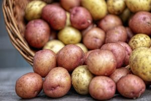 Image of a photo of red and white potatoes overflowing from a basket