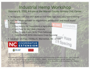 Image of a flyer advertising an Industrial Hemp meeting with speaker, date, time and location infromation.