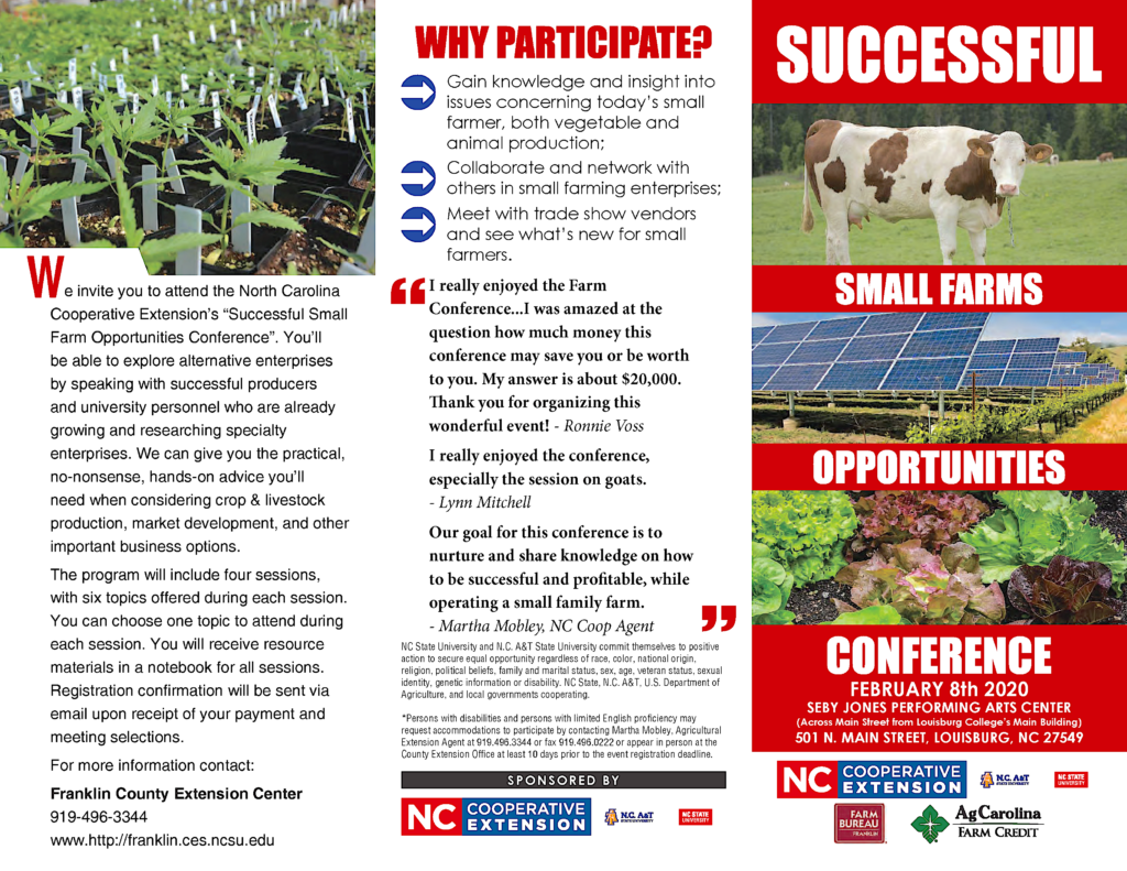 Image of the Small 2020 Small Farms Opportunities Conference flyer including description,and images of a cow, solar panels farm, varieties of lettuces plants and seedling flats.